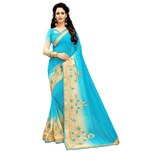 Siddeshwary Fab Women's Faux Georgette Sky blue Color Saree With Blouse Piece