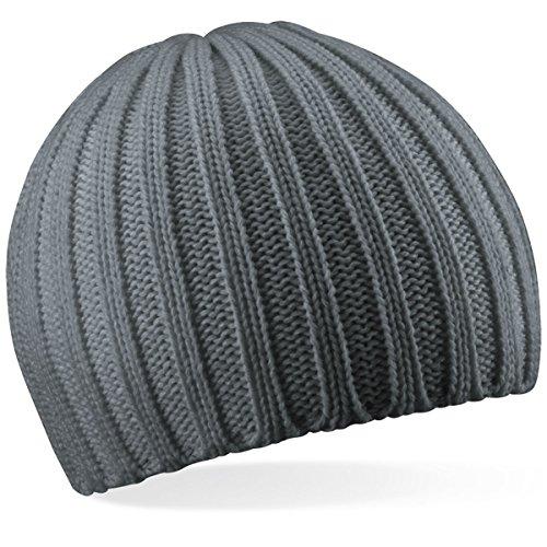 Beechfield Unisex Baseball Cap Chunky Knit Beanie, (Smoke Grey), One Size