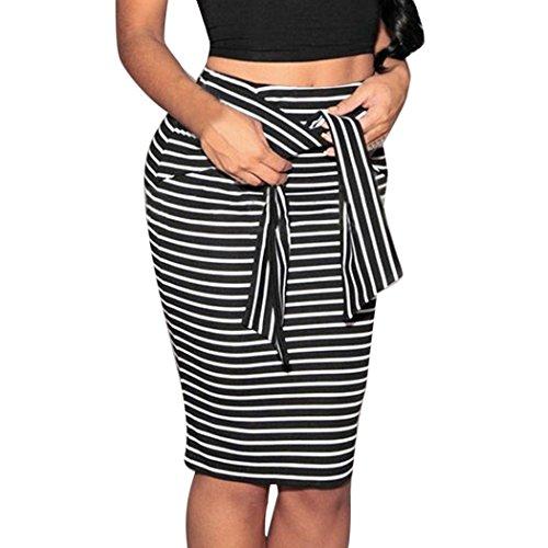 e53a06f9317e67 rock damen Kolylong® Frauen Sommer Elastischer Streifen Hohe Taille Kurzer  Rock Lose Rock Mini Röcke