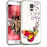 kwmobile Funda para Samsung Galaxy S5 / S5 Neo / S5 LTE+ / S5 Duos - Case para móvil en TPU silicona - Cover trasero Diseño enjambre de mariposas en multicolor rosa fucsia transparente