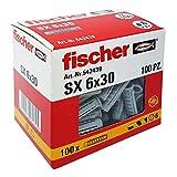 Fischer 100 Tasselli SX, 6 x 30 mm, per Muro pieno e Mattone Forato, 542439