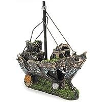 UEETEK Corsair Schiff für Aquarium Dekor,Versunkene Boot Segelschiff für Aquarium Dekoration,ideal für kleine Garnele Fisch Schildkröte