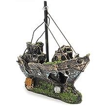 UEETEK Peces tanque accesorios nave acuario Adorno decoración peces pequeños camarones Cichild tortugas