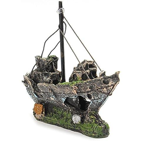 LEORX resina barca da pesca plastica Acquario decorazione vegetale -1pezzo