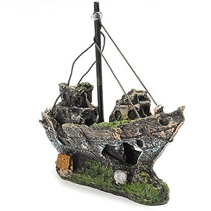 FENICAL Resin Fishing Boat Aquarium Ornament for Fish Tank Accessories 1