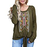 Yvelands Damen Mode T-Shirt Frauen Langarm Geometric Print Bluse Pullover Verband Tops Langarmshirts(CN-XL,Armeegrün)