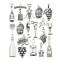 Youdiyla Wine Charms Collection, Bulk Win Glass Grape Win Barrel Bottle Opener Bottle Charms Metal Pendant Craft Supplies Findings for Necklace and Bracelet Jewelry Making (HM307)