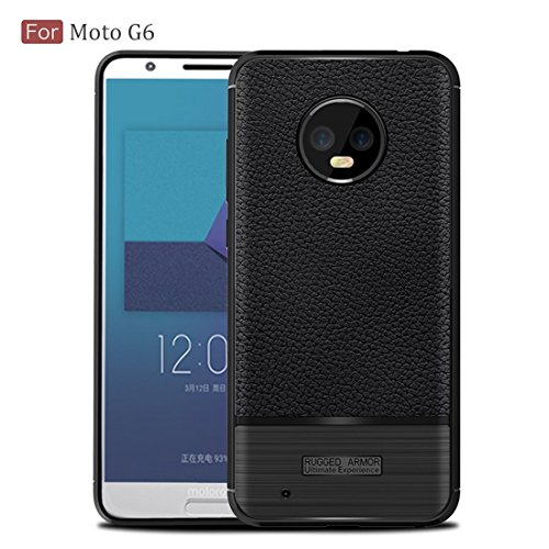 REALIKE Flexible Litchi Pattern Back Cover for Moto G6-2018 for Moto G6(Black)