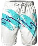RAISEVERN Pantaloni da Spiaggia da Uomo Quick Dry Colorati Stampa Alta Marea Pantaloncini Estivi da Nuoto Tronco Arcobaleno Cubo