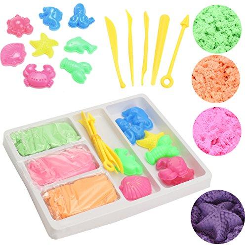 FUNTOK Bunte Sand Set Magic Motion für Kind DIY Indoor Handwerk Ungiftiges Spielzeug (Anzug Stück Sand 3)