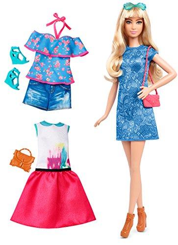 Mattel Barbie DTF06 - Barbie Fashionistas Style Puppe und Moden in blauem Musterkleid