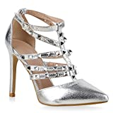 Damen Schnürpumps Cut-Outs Leder-Optik Stilettos Pumps Schuhe 132420 Silber Glatt Steine 38 Flandell