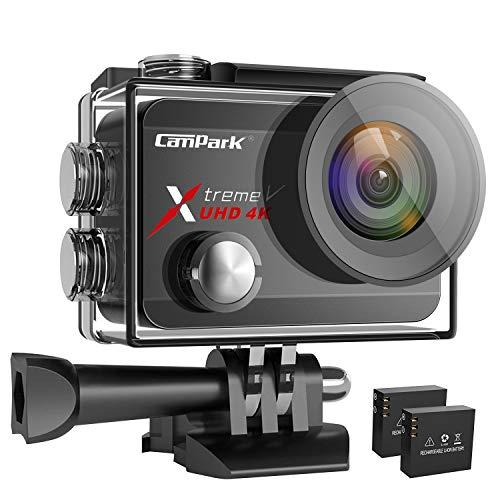 Campark X30 Action Cam 4K 60fps WiFi EIS Touch Screen 20MP Ultra HD Macchina Fotografica Subacquea 40M Videocamera con 2×1350mAh Batterie, 1 Caricabatterie e Kit di Accessori Compatibile con Gopro