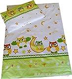 """babies-island, Kinder-Bettwäsche """"Grüne Eulen"""", für Mädchen und Jungen, Bett- und Kissenbezug, für Kinderbett, baumwolle, grün, 90x120 cm"""