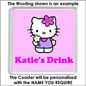 Personalised HELLO KITTY Acrylic Drinks Coaster - An Ideal Gift