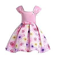 FXFAN Nueva Niña Imprimir Princesa Vestido de Niña de Verano en Niños wearZHANGM (Color : Rosado, Tamaño : 120)