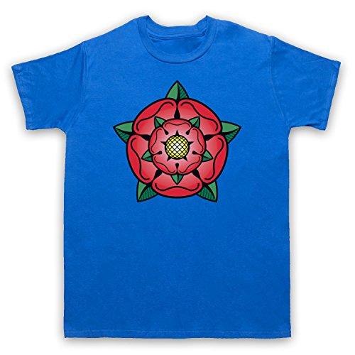 Tudor Rose British Regal Heraldic Symbol Herren T-Shirt Blau