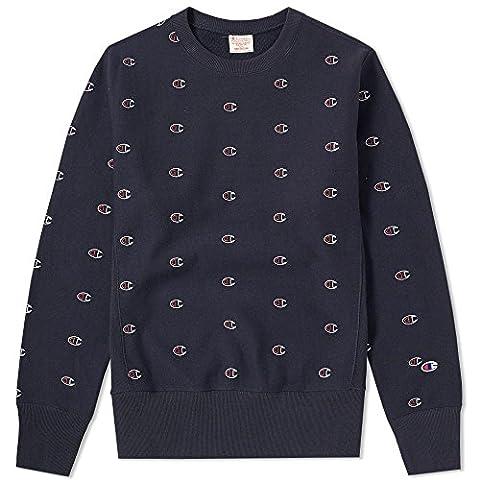 Champion Reverse Weave Men's Crewneck Sweatshirt , Blue (Nny), Large