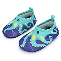 JIASUQI Babys Infant Comfort Walking Water Shoes for Outdoor Swimming Pool, Green Octopus 6-12 Months