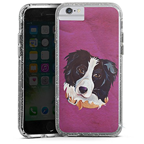 Apple iPhone 7 Bumper Hülle Bumper Case Glitzer Hülle Border Collie Hund Dog Bumper Case Glitzer silber