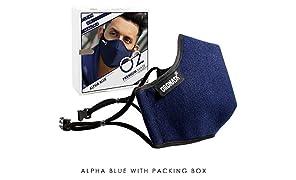 Oromask O2 Designer Reusable Washable -Unisex Face Mask (Navy Blue)