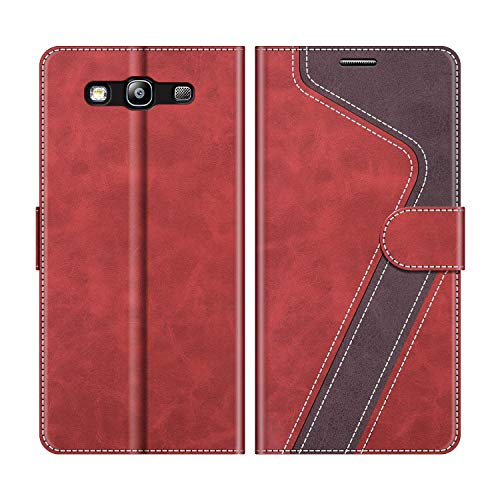 MOBESV Handyhülle für Samsung Galaxy S3, Samsung Galaxy S3 Neo Hülle Leder, Samsung Galaxy S3 Klapphülle Handytasche Case für Samsung Galaxy S3 / Galaxy S3 Neo Handy Hüllen, Modisch Rot
