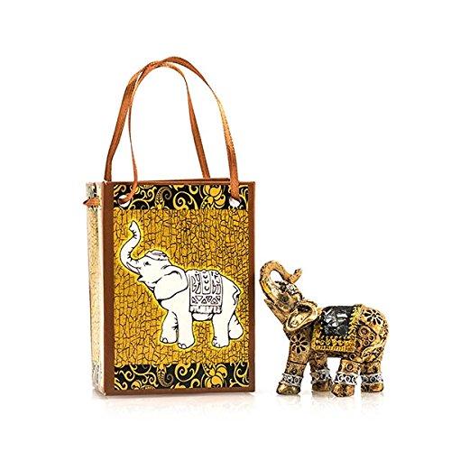 Elefante en bolsa de regalo, Figura, Oro, adornado.
