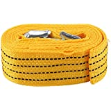 KingSaid 4M Heavy Duty Tow Rope Towing Belt 3 Tons Tow Strap with 2 Safety Hooks for Cars