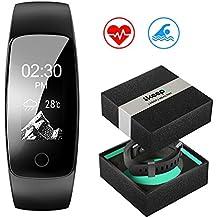 Pulsera Actividad Pulsómetro y Monitor de Actividad IP67 Resistente al agua, Smartwatch GPS Pasos Podómetro Calorías Alarma Seguimiento del sueño Alertas de llamadas para Android y IOS Bluetooth