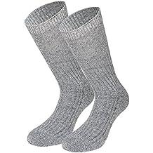 Tobeni 3 Pares de Calcetines Noruegos de Lana Hombre con Suela Terry sin Goma de Lana