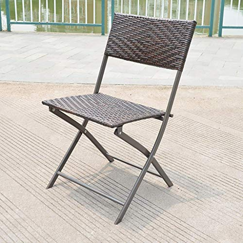 Good And Good Folding Table 70cm Outdoor Rattan Wicker Patio Porch Bistro Dining Table,Iron Art Round Coffee Table, (Size : Chair)