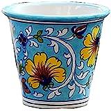 BLUE DECOR Blue Pottery Decorative-Handcrafted & Painted Floral Planter Vase ( PL102 ; Sky Blue )