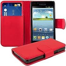 kwmobile Wallet Case Hülle für Samsung Galaxy S2 S2 PLUS - Cover Flip Tasche mit Kartenfach in Rot