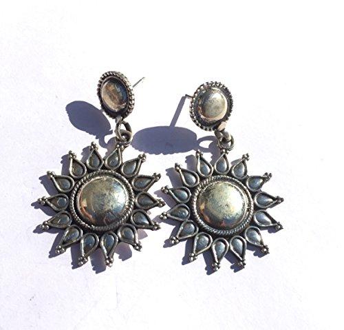 Ethnos Barcelona ethnischen Ohrringe Sonne aus Silber mit Knopf oben. (Knopf Oben)