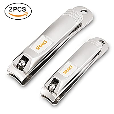 Nail Clippers, Splaks 2 Pack Stainless Steel Nail Cutter Professional Fingernail Clippers and Toenail Clippers Perfect for Boy Girls Women and Men