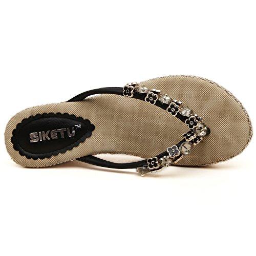 dqq femmes de perles en métal Wedge Sandales Tong Noir - noir