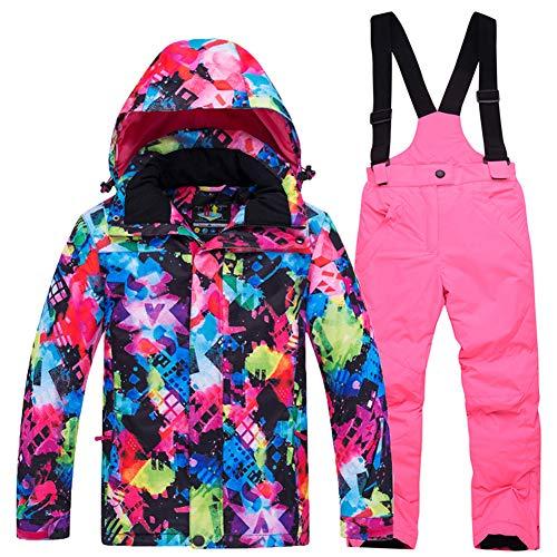 LPATTERN Traje de Esquí para Niños/Niñas Chaqueta Acolchada + Pantalones de Nieve Impermeables para Deporte de Invierno, Rosa Brillante, 8-9 años/L