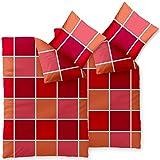 CelinaTex 4-TLG. Bettwäsche 2X 155x220 Mikrofaser, Harmony 6000206 Coco Karo-Muster rot orange