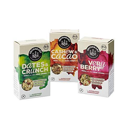 SEEDHEART DREIER-MIX - Superfood-Mix aus Saaten, Kernen und Beeren (Müsli) - 3 Packungen (3 x 275g) 1x DATES & CRUNCH, 1x VERY BERRY, 1x CASHEW & CACAO - Bio, vegan, glutenfrei
