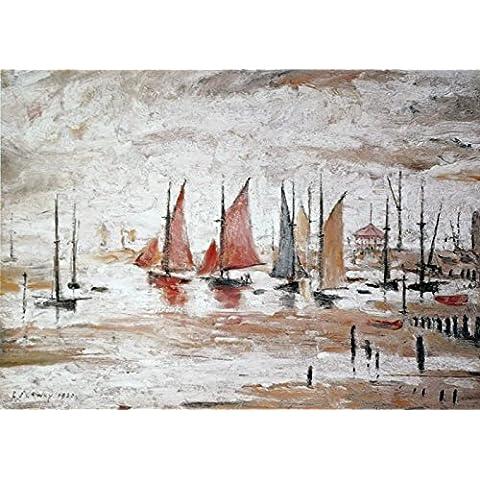"""L S Lowry specialità Stampa/quadro """"Barchette su una struttura in lino, misura media (immagine 40,6x 30,5cm + bordo), Image 16, 40 x 30 cm"""