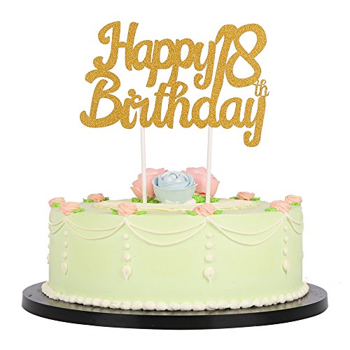 Lxzs Bh Gold Glitzer Happy 18th Birthday Cake Topper Party Kuchen Dekoration Supplies