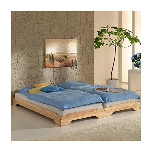 110 00 stapelbetten set doppelbett einzelbett gstebett bett ronny kiefer massiv natur lackiert. Black Bedroom Furniture Sets. Home Design Ideas