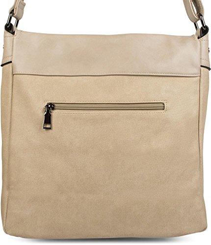 styleBREAKER Messenger Bag Umhängetasche mit Schnallen auf der Vorderseite, Schultertasche, Tasche, Unisex 02012218, Farbe:Braun Creme-Beige