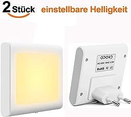 LED Nachtlicht Steckdose mit Dämmerungssensor, Opard Helligkeit Stufenlos Einstellbar Energiesparend Baby Licht Automatisch Orientierungslicht für Kinderzimmer Schlafzimmer, Warmweiß, 2 Stück