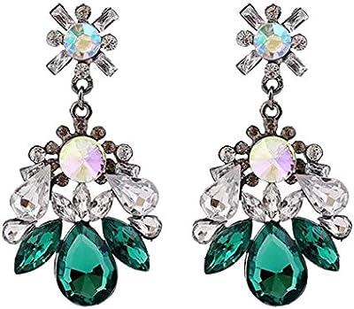 Joyería Pendiente Zarcillos Flor Piedra Preciosa Forma de Gota de Aceite Diamantes de Imitación Verde