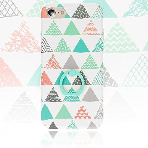 iPhone 8 / 7 Coque avec Bague de NICA, Housse Protection Case Mince avec 360 Degrés Rotation Ring, Etui Rigide Fine Bumper Cover pour Telephone Portable Apple iPhone-7 / 8, Designs:Pastel Triangles Pastel Triangles