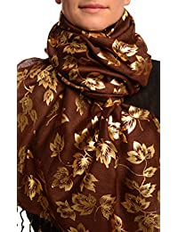 Gold Leafs Print On Brown Pashmina Feel With Tassels - Marron ?charpe Taille Unique (70cm x 180cm)