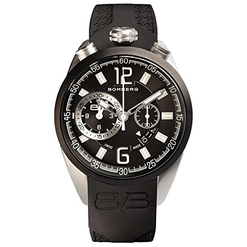 BOMBERG MEN'S 1968 44MM BLACK SILICONE BAND SWISS QUARTZ WATCH 44CHTT.0079.2