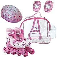 Hello Kitty - Bolsa con patin en linea tamaño 1 = 30-33 + protecciones + casco (D\'Arpèje OHKY21)