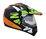 Vega Offroad Multicolour designer helmet Black with Green (Outer Visor and Inner Goggle Visor) (M - 57, Plain Visor)